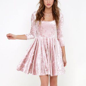 Lulu's Blush Pink Velvet Skater Dress XL